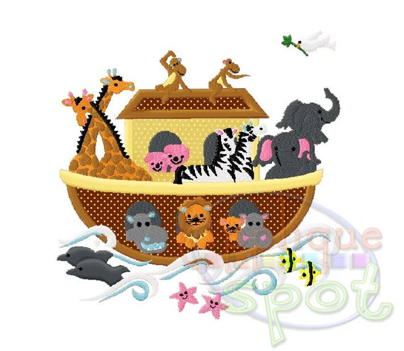 Noah S Ark Baby Animals 4x4 5x7 6x10 Applique Design