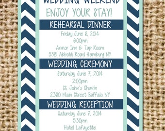 Chevron Wedding Itinerary