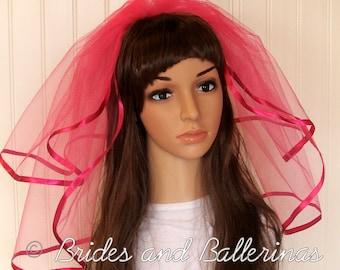 Hot Pink Wedding or Bachelorette Veil