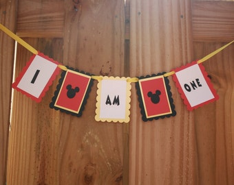 I am One Mickey High Chair Banner