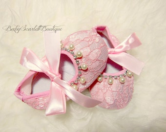 Pink Lace Baby Girl Shoes,Crib Shoes,Infant Shoes