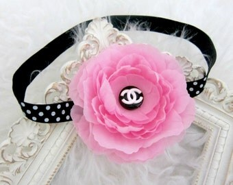 Pink Flower Baby Headband,Girl Headband
