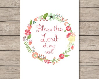PRINTABLE - Christian Bible Verse Psalm Wall Art - Digital File - Instant Download - Home Decor