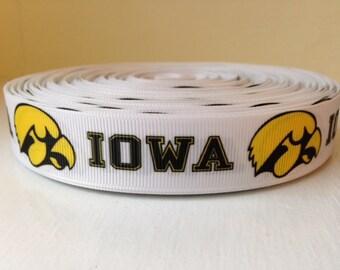 """1/3/5/7/10 Yards Iowa Hawkeyes 7/8"""" Grosgrain Ribbon"""