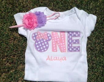 Lavender and pink minnie mouse birthday outfit - 1st birthday shirt and headband - custom birthday shirt