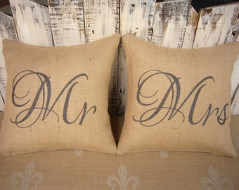 Mr and Mrs Burlap Pillows, set of two. Perfect wedding gift or anniversary gift. Includes pillow forms. SPS-029
