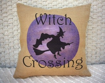 Witch Crossing over a Purple Moon Halloween pillow. Burlap Pillow. Halloween Decor. Decorative throw. Halloween Decorations