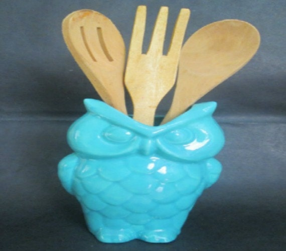 Ceramic Owl Utensil Holder Kitchen Storage By Ceramicslodge
