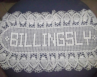 Hand made name doily, crocheted, Purchase by the letter