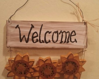 Hand painted sunflowers welcome sign