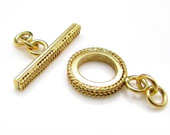 1 Set, 12mm, 24k Gold Vermeil Toggle