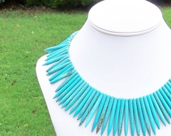 Saraya - Ethnic, Chunky, Graduated Spike Turquoise Blue Beaded Necklace - Tribal, Perfect for Summer