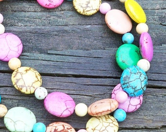 Rianna - Pastel Multicolor Turquoise 15mm Round Gemstone Coin Beaded Necklace