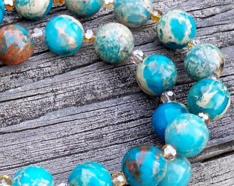 Paisley - 12mm Round Aqua Blue Green Serpentine Jasper and Czech Glass Gemstone Beaded Necklace
