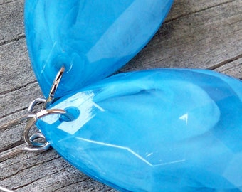Kia - Large Turquoise Teal Blue Faceted Teardrop Silver Dangle Fish Hook Earrings