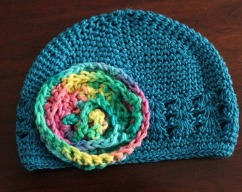Blue crocheted hat with rainbow colored flower--Infant size 0-6 months--Ready to ship!!!