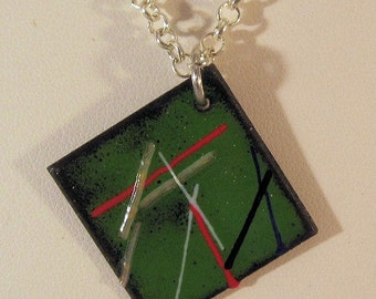 Torch Fired Enamel Necklace, Green with Multicolored Stripes on a Copper Square