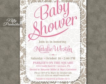 Lace Baby Shower Invitations - Printable White Lace & Pink Girl Baby Shower Invites - Rustic Baby Girl Shower Invitation - LCE