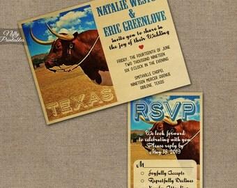 Texas Wedding Invitations - Printable Vintage Texas Wedding Invites - Retro Texan Wedding Suite or Solo VTW