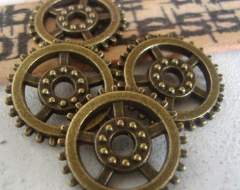 4 steampunk gear charms,wheel charms,craft charms