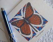 """Pen and Ink Drawing of Monarch Butterfly on note cards - """"Danaus plexippus"""""""