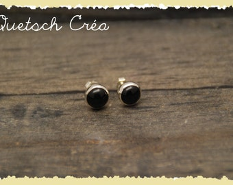 Earrings sterling silver Onyx & cabochons