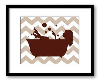 INSTANT DOWNLOAD Burgundy Girl Brown Beige Chevron in a Bath Tub Bathtub Printable Bathroom Print Art Print Wall Decor Modern Minimalist