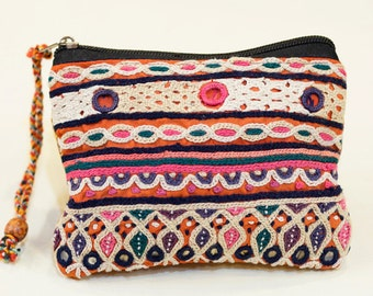 Indian mirror work small pouch (001)
