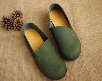 3 Colors! Handmade Flat Shoes for Women, Casual Shoes, Soft Shoes, Retro Oxford Shoes, Vintage style Leather Shoes