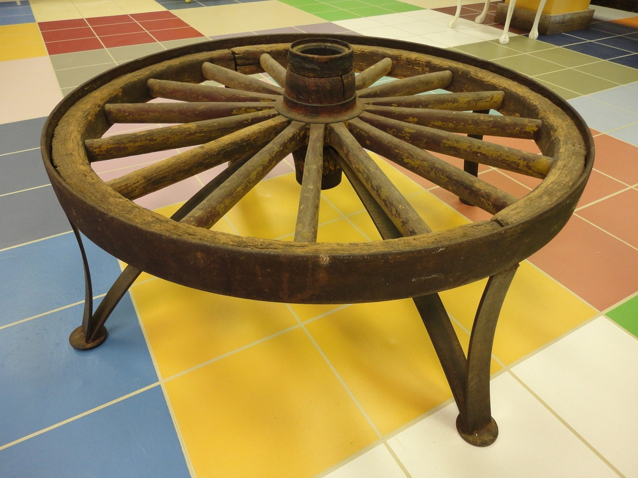 Rustic One Of A Kind Wagon Wheel Coffee By Junktiquerecycling