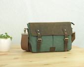 Coral-Green Canvas Messenger Bag Student Canvas bag  Leisure Canvas Messenger Bag --- Gifts