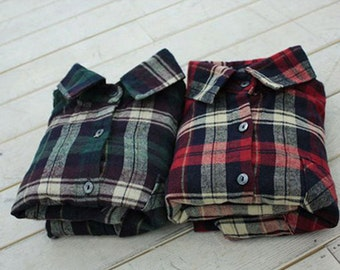 Brushed Twill Cotton Fabric Plaid in 2 Colors By The Yard
