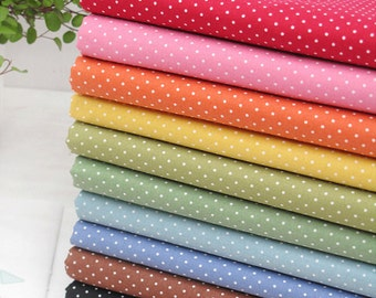 Cotton Fabric 1mm Tiny Polka Dot in 10 Colors By The Yard