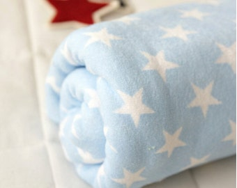 Terry Cloth Fabric Pastel Star Blue By The Yard