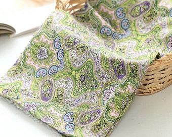 Cotton Fabric Paisley Flower Green Purple
