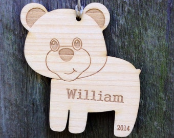 Woodland Bear Ornament:  Personalized Ornament/Woodland Favor/Engraved Wood