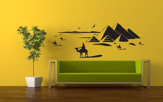 wall sticker d coration egypte th me chameaux pyramides. Black Bedroom Furniture Sets. Home Design Ideas