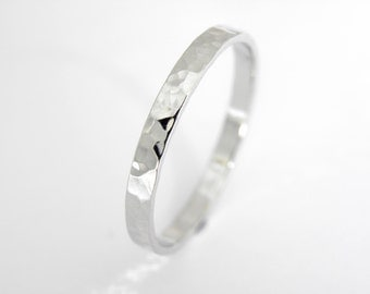 White gold wedding band,2x1.5 mm, in white gold hammered shinny finish,Men or Women ring.Option of yellow or rose gold too.