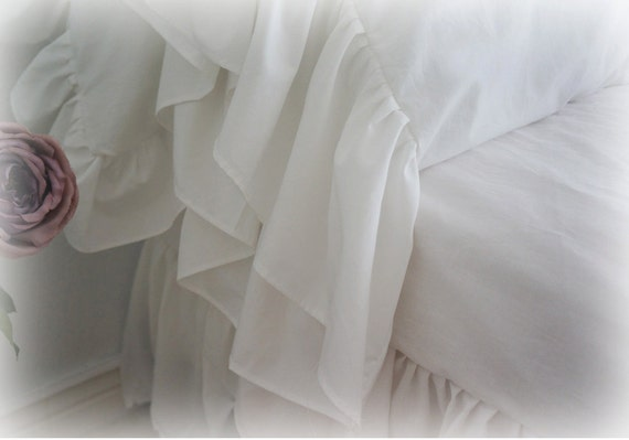 White Shabby Chic Pillow Cases : White Long Ruffle Shabby Chic Cottage French by ngaslovelies