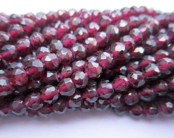 13 inch rhodholite garnet   faceted  round 4mm-4.5mm beads