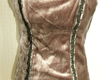 Stunning Vintage grey velvet corset style top. Steampunk Victoriana with hand-embellished beadwork size 12