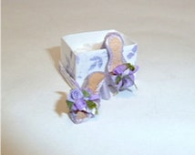 """These beautiful """"mule"""" shoes are a lovely shade of lavender (other colors available). They are finely detailed with tiny blossoms on the toe"""