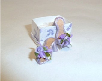 mule shoes silk  dollhouse miniature 1/12 scale