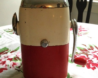 "Vintage Ice-O-Mat Ice Crusher, ""Vogue"" Model made by Rival Mfg. Co. / 1940's / White and Red."