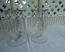"A Pair of Fostoria ""Baroque"" Candlesticks with attached Bobeches with Prisms. Made in West Virginia, USA."