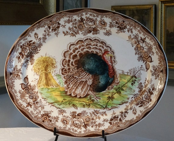 Royal Staffordshire Large 15 x 19 inch Turkey Platter by Clarice Cliff. Made in England