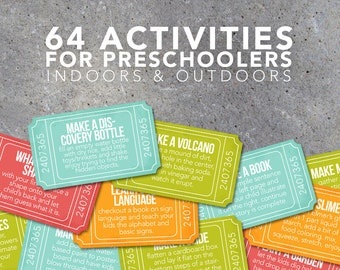 64 Activities for Preschoolers Tickets – Creative Indoor & Outdoor Ideas – Connect with Your Preschooler – Printable File – Instant Download