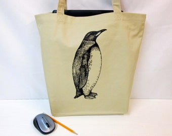 100% Organic Cotton Tote Bag, Penguin on a Tote Bag, Screen Printed Tote Bag, Penguin, Grocery Bag, Organic Cotton