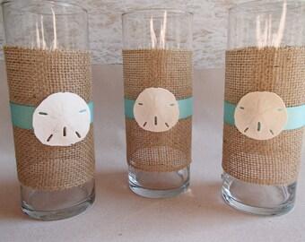 Set of 3 Sand Dollar & Burlap Beach Vase Centerpieces  - Nautical Coastal Wedding Centerpiece Vases Starfish Candle Holders Holder- Flowers