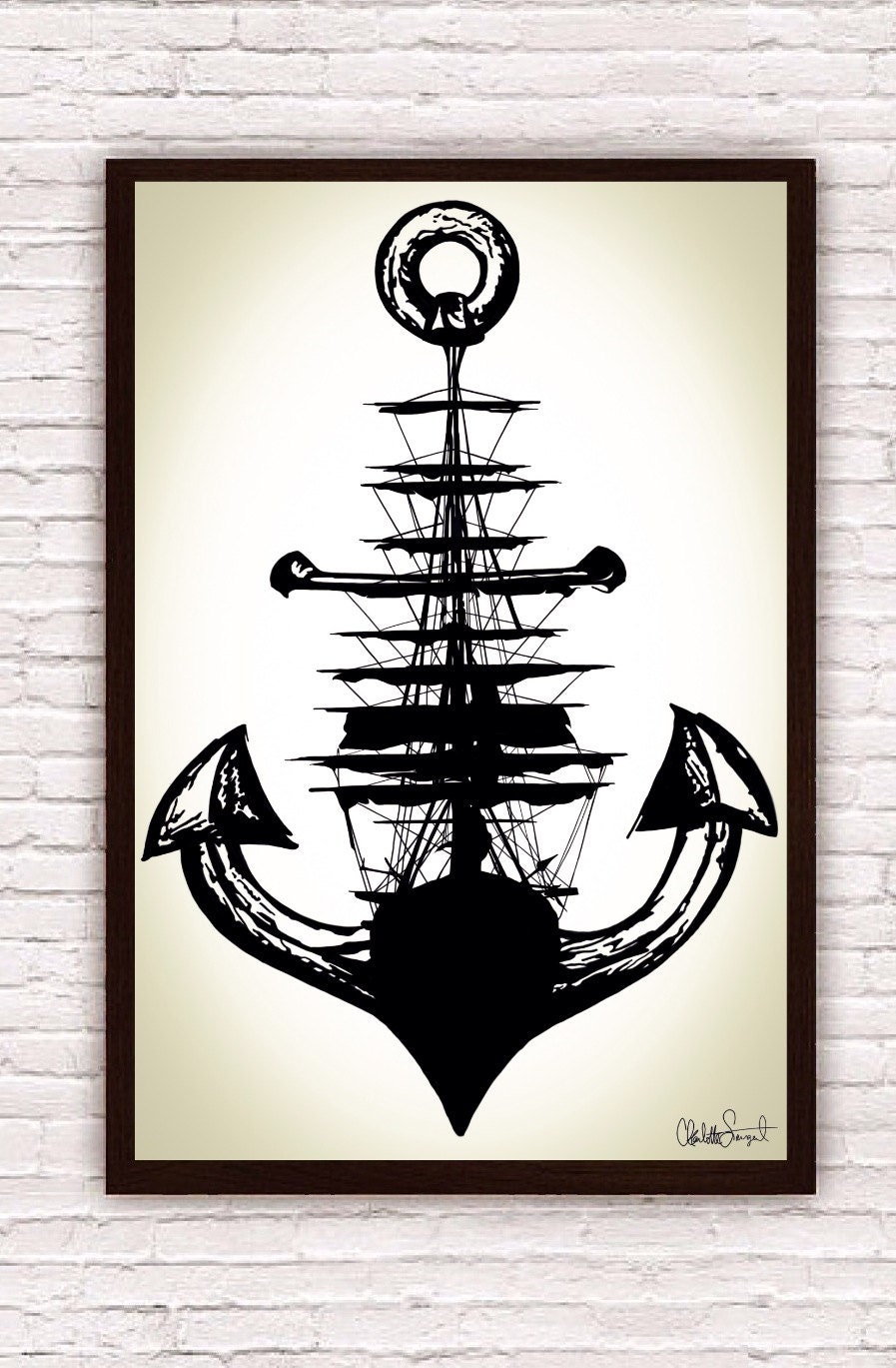 sailing ship anchor poster print nautical wall art. Black Bedroom Furniture Sets. Home Design Ideas